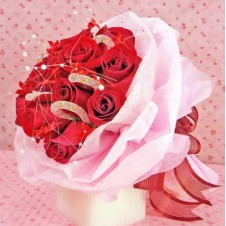 Red Holland Roses with Candy Canes in a Bouquet