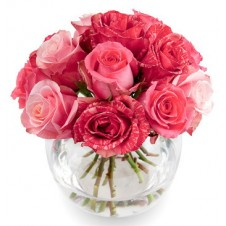 Pink Holland Roses in a Globe Vase