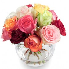 12 pcs Assorted Holland Roses in a Globe Vase