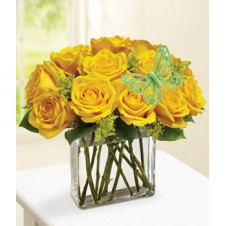 Yellow Holland Roses in a Cube Vase in a Vase