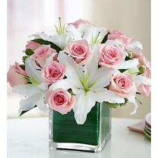 Pink Holland Roses & White Lilies in a Vase