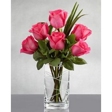 6pcs Pink Holland Roses in a Vase