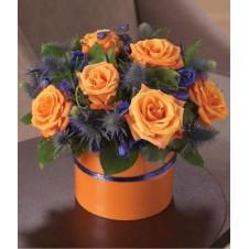 6pcs Orange Holland Roses in a Vase