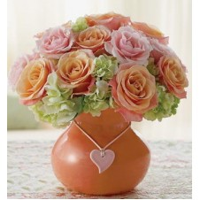 Orange & Pink Holland Roses with Greens in a Vase