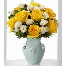 Yellow Holland Roses combine with Dozen Local White Roses in a Vase