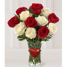 Mixed White & Red Holland Roses in a Vase