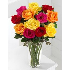 Assorted Holland Roses in a Clear Vase
