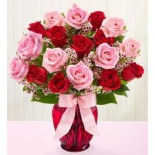 Mixed Pink & Red Holland Roses in a Vase