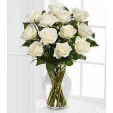 One dozen White Holland Roses in a Vase