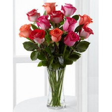 One dozen Pink Holland Roses & 6pcs White Callas 1 in a Vase