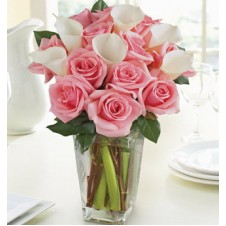 Pink Roses and White Callas in a Vase