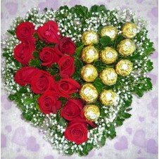 1 Dozen Red Holland Roses and 12 Pcs Ferrero Rocher Chocolate in a Heart Shape Basket