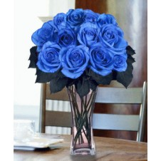 12 pcs. Imported Holland Blue Roses one in a Vase