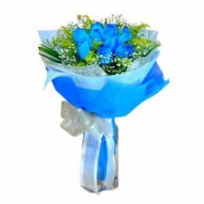6 pcs. Imported Holland Blue Roses in a Bouquet