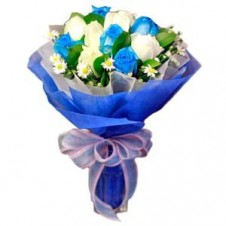 6 pcs. Imported Holland Blue Roses & 6 pcs. White Roses in a Bouquet