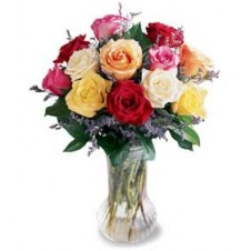 Mixed Color Roses w/ Green and Fillers in a Vase