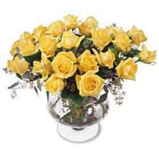 2 dozen Sumptuous Roses with Greens in a Glass Vase