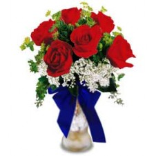A Great way to Show your Patriotism w/ Assorted Greenery in a Vase