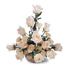 Basket of 12 White Sweetheart Roses and 12 White Standard Roses