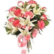 Bouquet of Pink Roses and White Lilies
