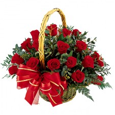 2 dozen Red Roses with greeneries in a Basket Arrangement