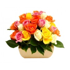 2 dozen Multicolored Roses in a Basket