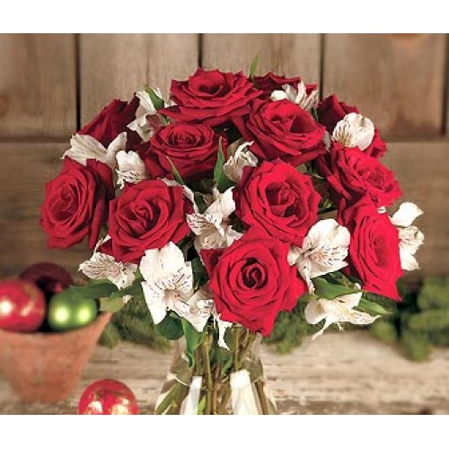 One Dozen Red Roses with a Bounty of White Lily Blooms