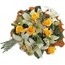 Beautiful Yellow Roses and White Lilies in a Bouquet