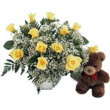 12 Yellow Roses with Baby's Breath and Fern in a Glass Vase, with a Teddy Bear