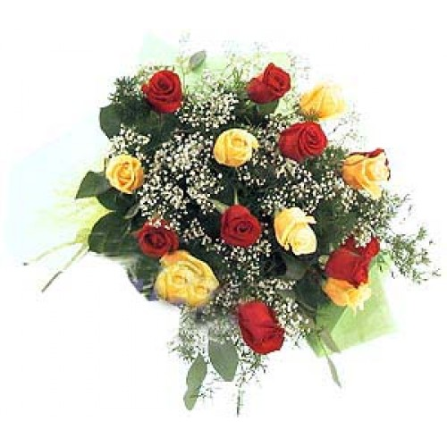 Lovely Colour Combination of Yellow and Red Roses in a Bouquet