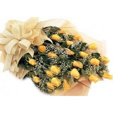 Medium Stem Yellow Roses with Baby's Breath in a Bouquet