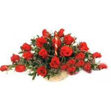 Beautiful Arrangement of Red Roses in a Basket.18 Roses
