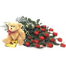 15 Long Stemmed Red Roses in a Bouquet with Chocolates and Teddy Bear