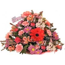 Beautiful Rounded Arrangement in Pink and Mauve Tones in a Bouquet