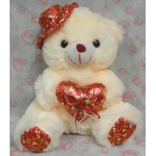 Cream Bear w/ Hat & Heart Pillow