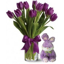 Passionate Purple Tulips in a Bouquet