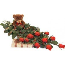 1 Dozen Red Roses in a Bouquet With Teddy Bear and Chocolates