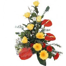 One Sided Arrangement Of Groupings of Flowers