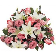 Lovely Rounded Arrangement in Pink and White Flowers