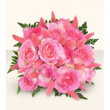 Pink Roses Artfully in a Bouquet