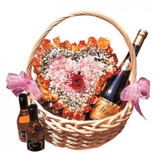 Heart Shaped Basket full of Roses with Sparkling Red Grape Juice