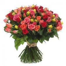 101 pcs Long Stemmed Fresh Cut Multi Colored Roses in a Box