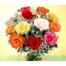 Different Color Roses Mix with Babys Breath in a Vase