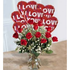1 Dozen Red Roses in a Vase with 6 Pcs I Love You Balloons
