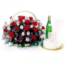 18 Pcs Red & 18 Pcs Pink Roses in a Basket with Home Made Chocolates and Grape Juice