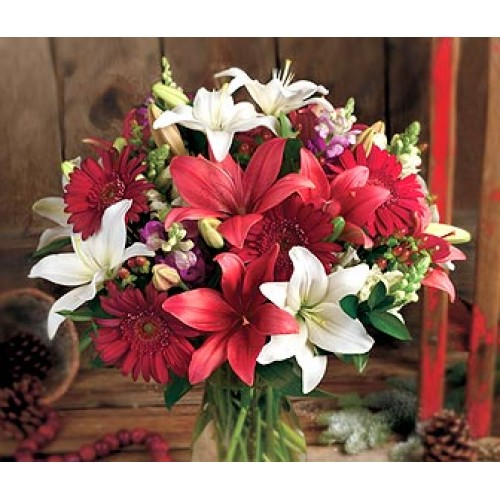 Crimson and White Royal in a Vase