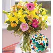 Flowers in a Bouquet with a Mylar Balloon