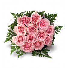 One dozen Pink Roses in Bouquet