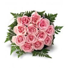 One dozen Pink Roses in Bouquet