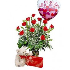 1 Dozen Red Roses in a Vase with Balloon,Bear & Chocolates